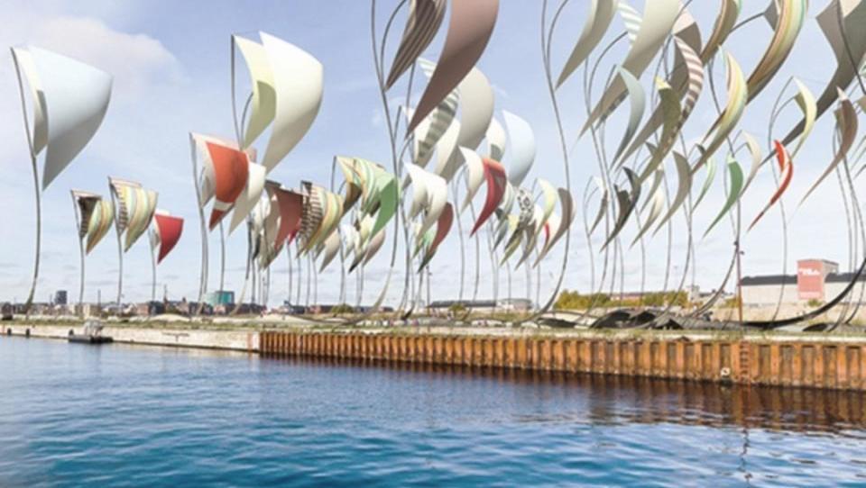 Riesige Segel sorgen für saubere Energie