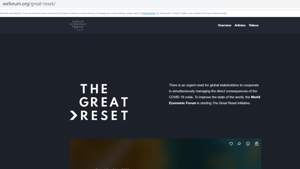 """Das ist die offizielle Webseite der """"Great Reset""""-Initiative des Weltwirtschaftsforums"""