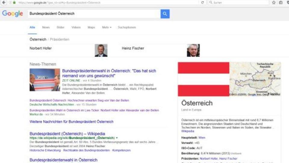 Österreich: Für Google ist Hofer schon Bundespräsident