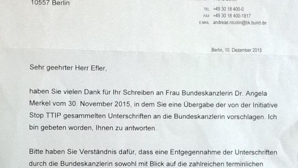Merkel verweigert Gespräch mit Bürgerinitiative gegen TTIP