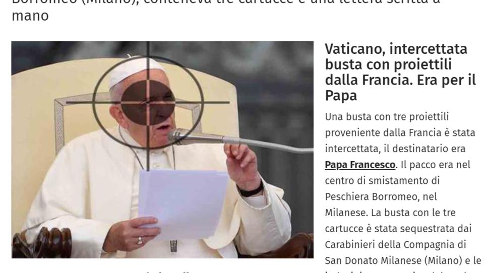 Umschlag mit drei Patronen-Kugeln an Papst Franziskus gerichtet