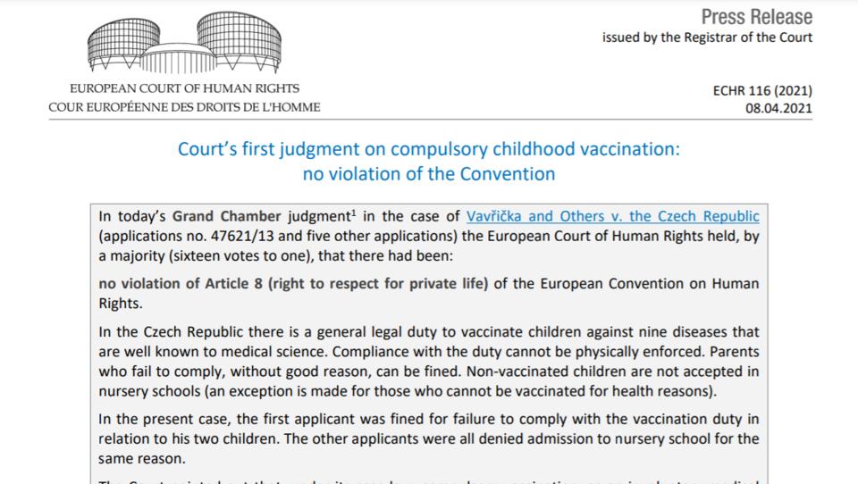 Europäischer Gerichtshof fällt Urteil über gesetzliche Verpflichtung bei Kinder-Impfungen