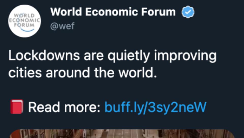 Weltwirtschaftsforum feiert Lockdown auf Twitter – und zieht Tweet nach Protesten wieder zurück