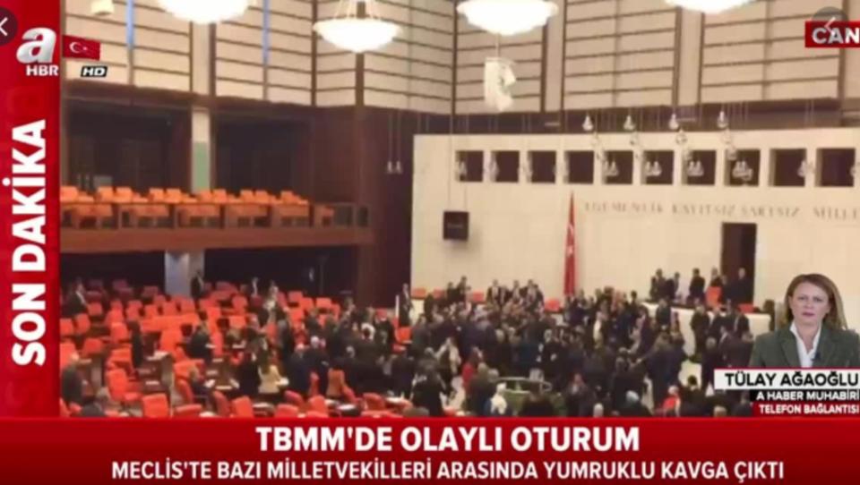 Massenschlägerei im türkischen Parlament wegen Syrien - Das Video