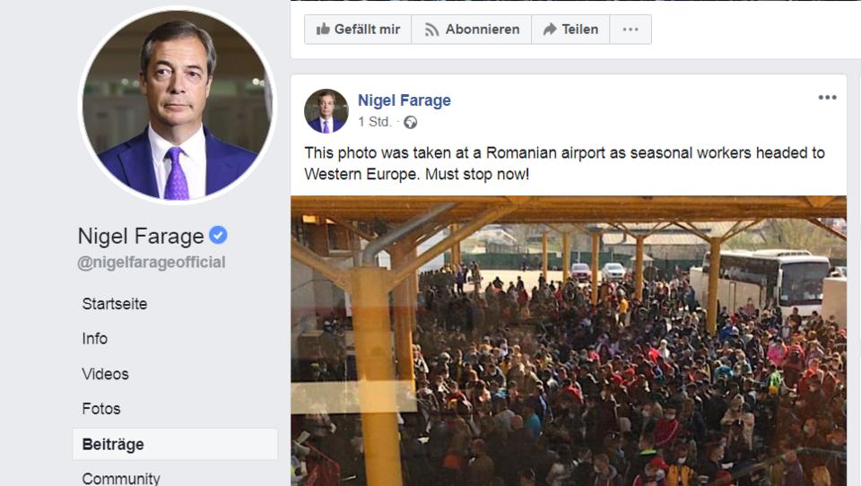 Nigel Farage macht in der Corona-Krise Stimmung gegen rumänische Erntehelfer