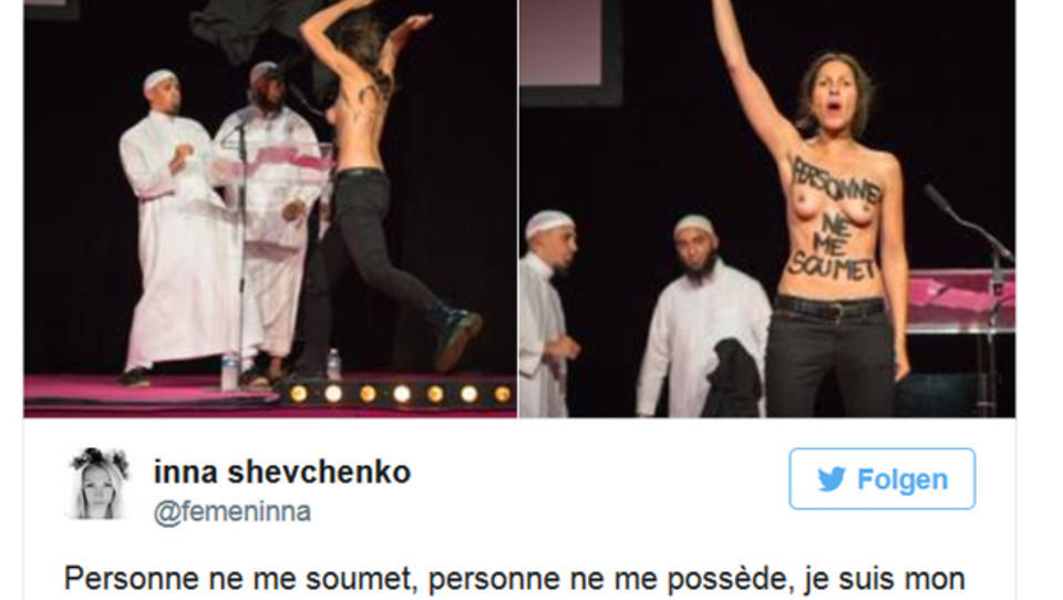 Barbusige Femen-Aktivisten stürmen Konferenz von Muslimen
