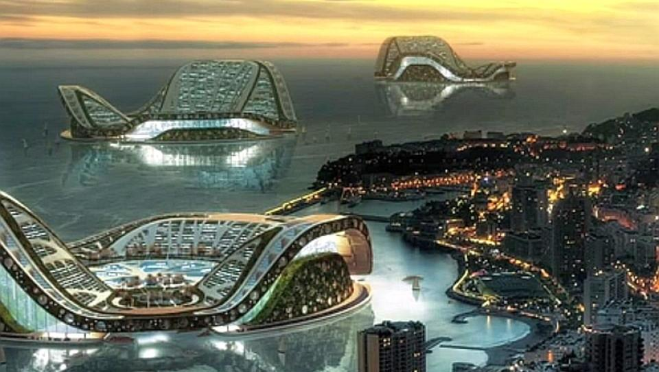 Schwimmende Inselstadt mit unabhängiger Energie-Versorgung