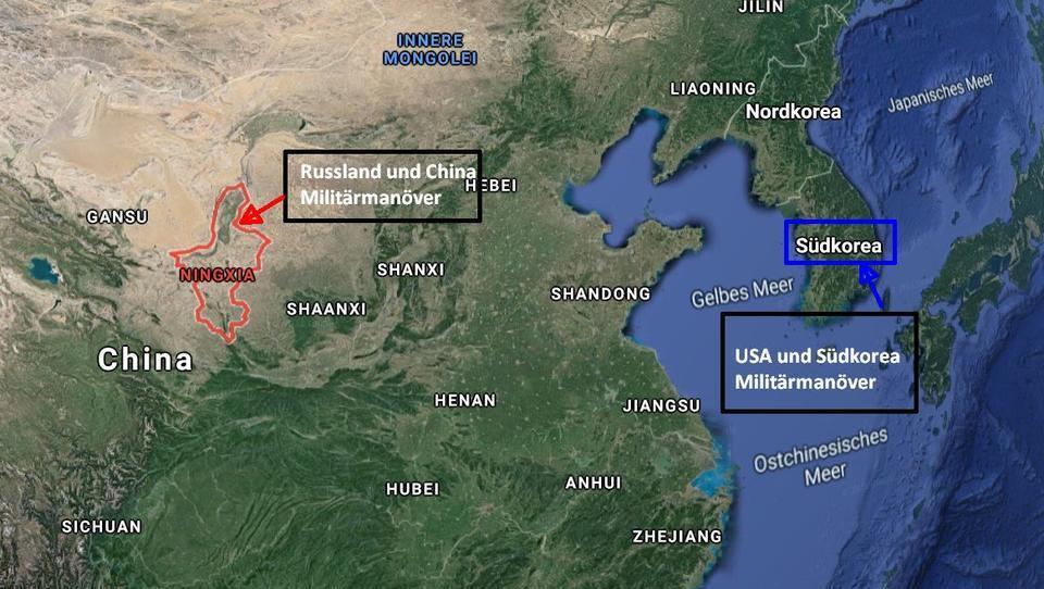 Mehrere Manöver in Asien: Russland gemeinsam mit China, Südkorea gemeinsam mit den USA